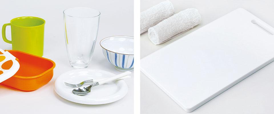 清潔な食器やおしぼり、まな板